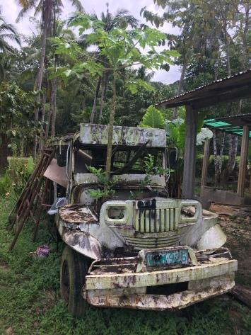 Alter Jeepney mit Papaya im Motorraum